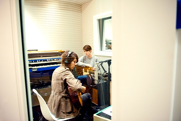 Tegan and Sara in the studio, Apr 2012, photo by Lindsey Byrnes